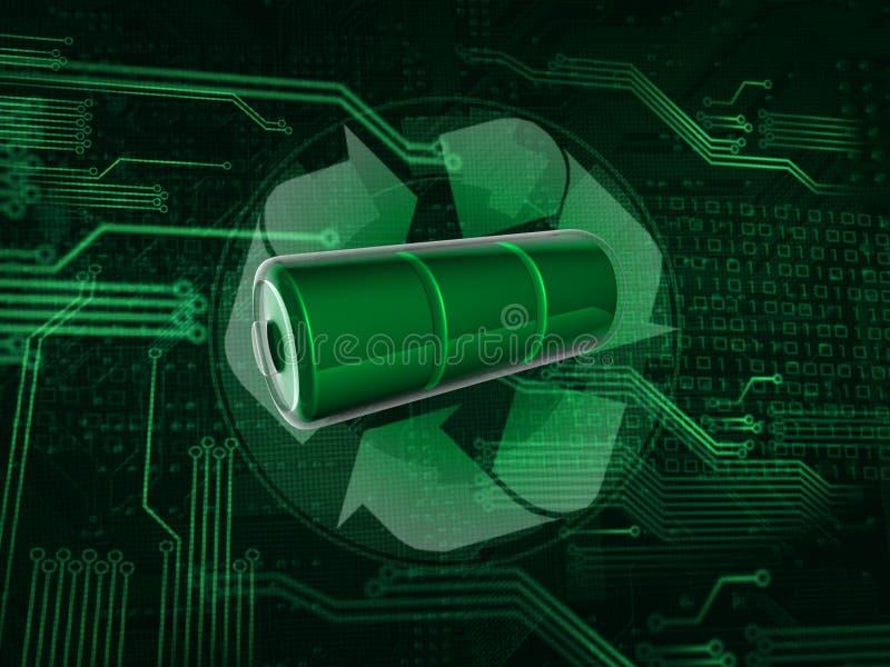 Recicle la batería ilustración del vector