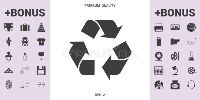 Recicle la muestra aislada en el fondo blanco Icono del ambiente stock de ilustración