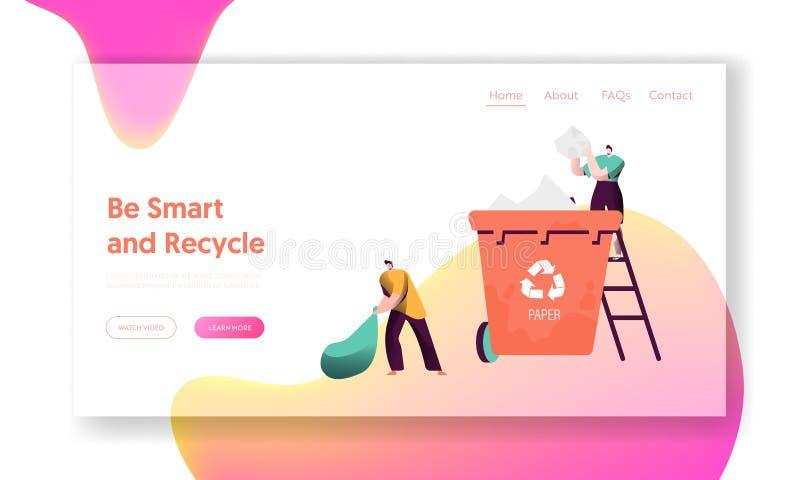 Recicle la página de papel separada del aterrizaje del cubo de la basura El hombre lanza lejos la basura al envase para que la cl stock de ilustración