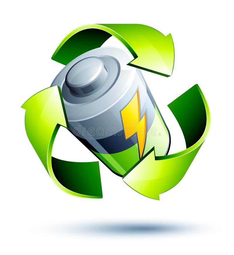 Recicle las baterías ilustración del vector