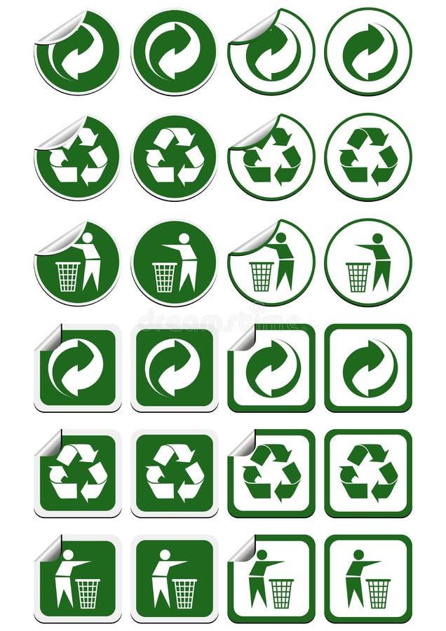 Recicle las etiquetas engomadas ilustración del vector