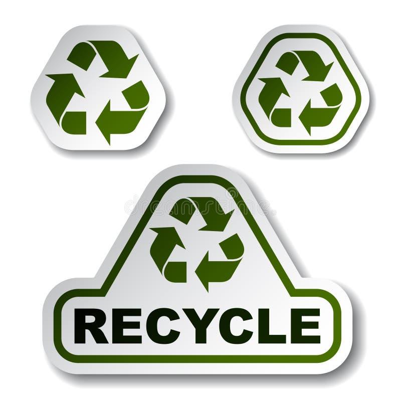 Recicle las etiquetas engomadas verdes de la flecha stock de ilustración