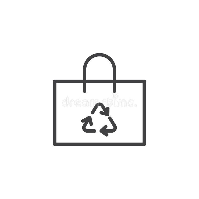 Recicle a linha ?cone do saco de compras ilustração stock