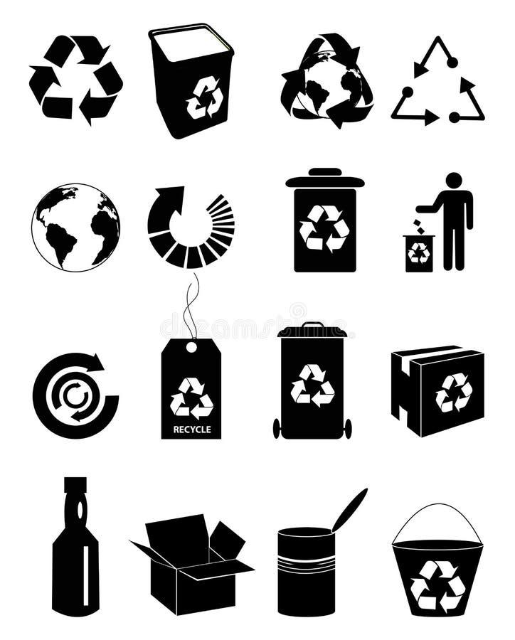 Recicle los iconos fijados ilustración del vector