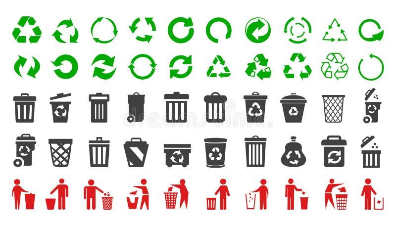 Recicle los iconos para fijar y los iconos con el hombre - vector del bote de basura stock de ilustración