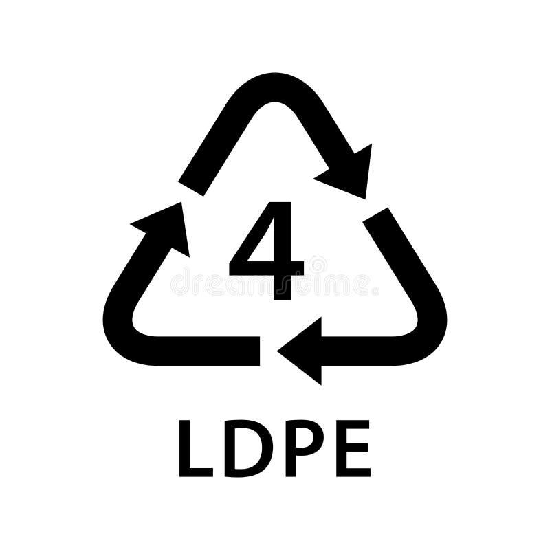 Recicle los tipos 4 del LDPE del triángulo de la flecha aislados en el fondo blanco, tipo logotipo de los símbolos cuatro de los  stock de ilustración