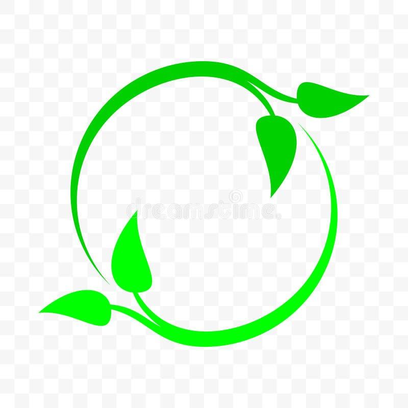 Recicle o ícone, círculo verde da seta da folha Reutilização do lixo do vetor a bio, proteção do ambiente da ecologia e de nature ilustração royalty free