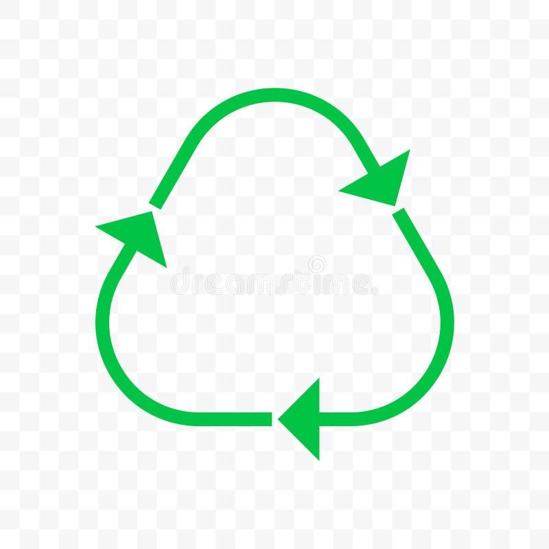 Recicle o ícone da seta do triângulo do vetor Eco desperdiça o escaninho da reutilização ou bio recicle a linha símbolo das setas ilustração stock