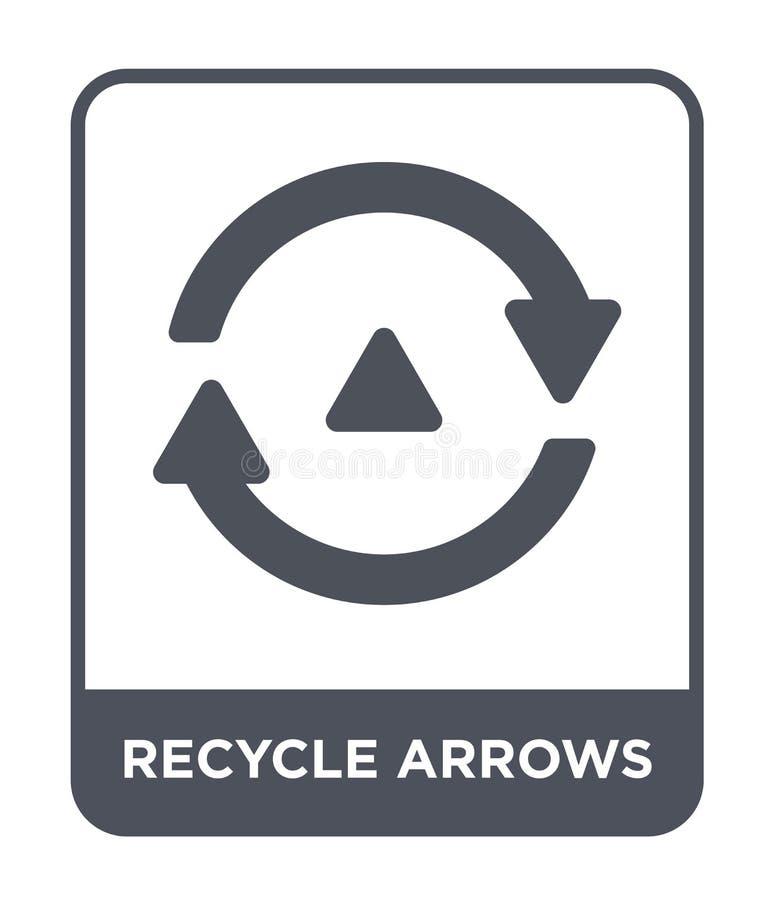 recicle o ícone das setas no estilo na moda do projeto recicle o ícone das setas isolado no fundo branco recicle o ícone do vetor ilustração stock