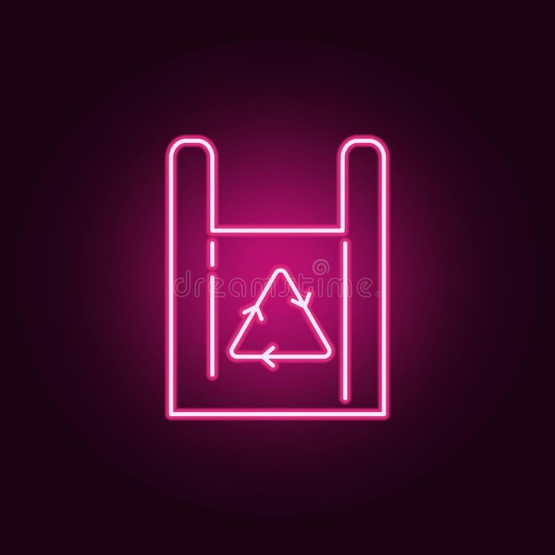 Recicle o ícone de néon da loja da compra de compra do saco de papel do símbolo Elementos do grupo da ecologia ?cone simples para ilustração do vetor