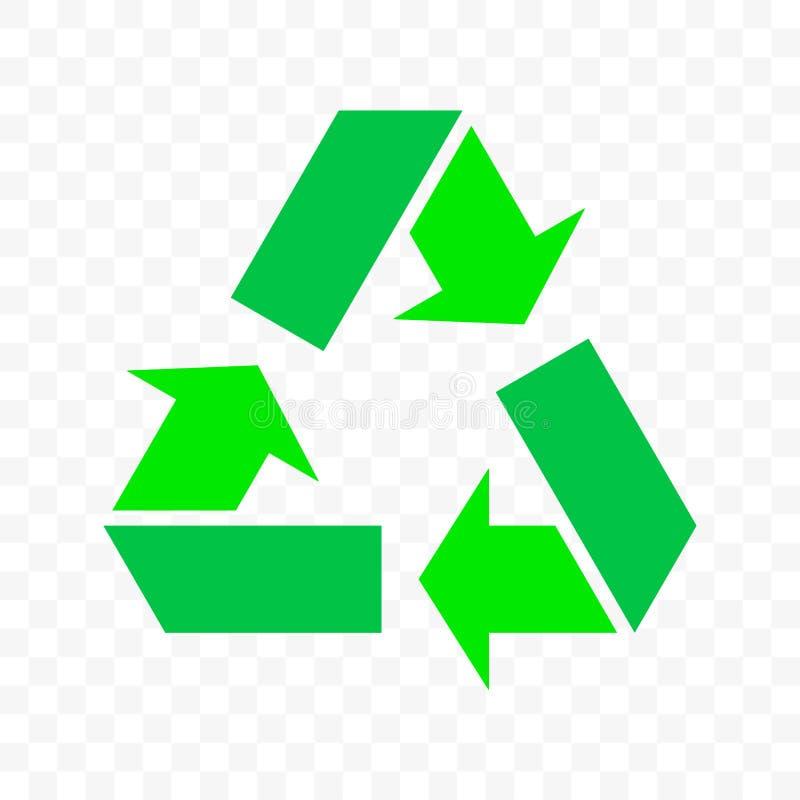 Recicle o ícone do ciclo da seta do triângulo do vetor O escaninho de desperdício de Eco, pacote orgânico reutiliza bio recicla o ilustração stock