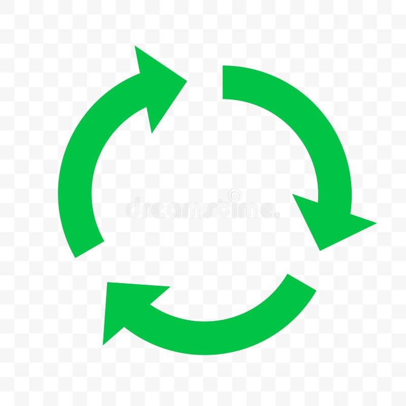 Recicle o ícone do vetor do eco A seta verde do círculo, reutiliza bio recicla o sinal ilustração royalty free