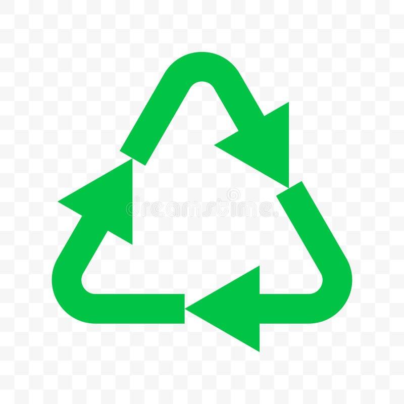 Recicle o ícone do vetor do eco A seta verde do triângulo bio recicla o sinal ilustração do vetor