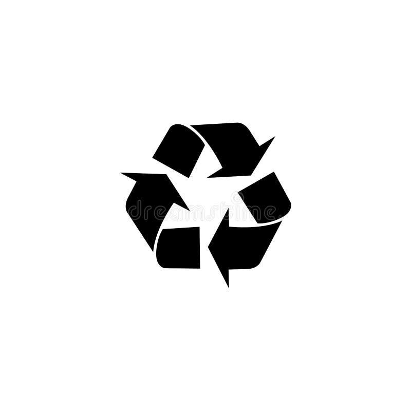 Recicle o ícone do vetor O estilo é símbolo liso, cor cinzenta, ângulos arredondados, fundo branco ilustração royalty free