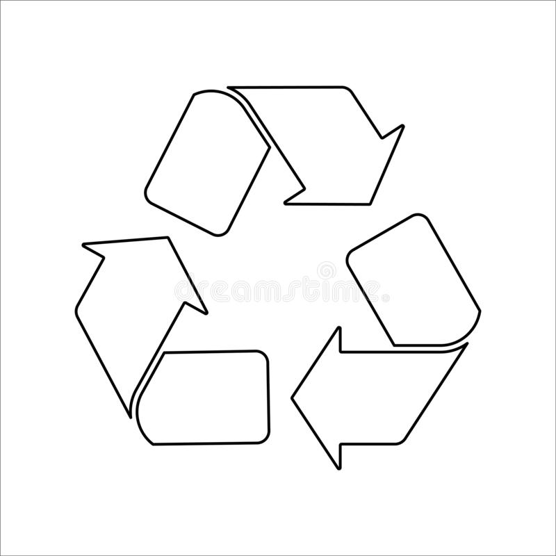 Recicle o ícone preto no vetor branco do fundo ilustração do vetor
