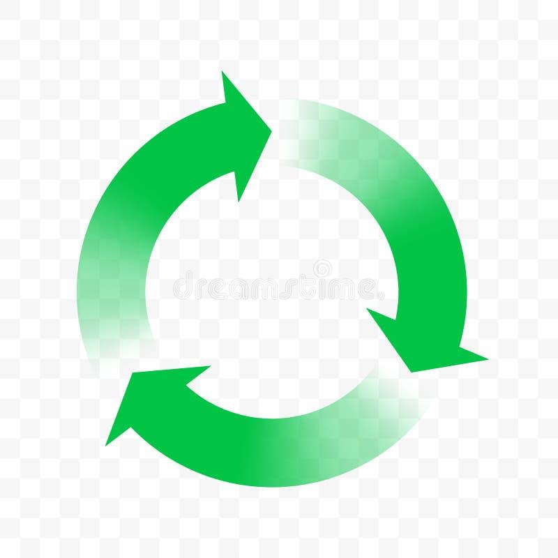 Recicle o ícone, setas do vetor circundam o símbolo Eco desperdiça o ciclo da reutilização, bio desperdício recicla setas do incl ilustração do vetor