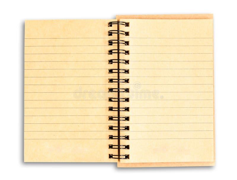 Recicle o caderno do papel marrom isolado no fundo branco com c imagem de stock