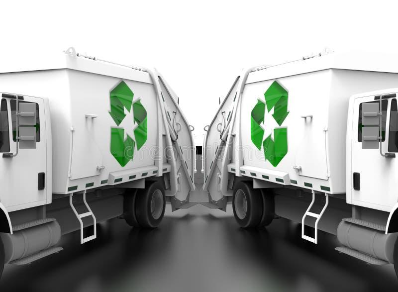 Recicle o conceito dos trabalhos de equipa dos caminhões de lado a lado ilustração royalty free