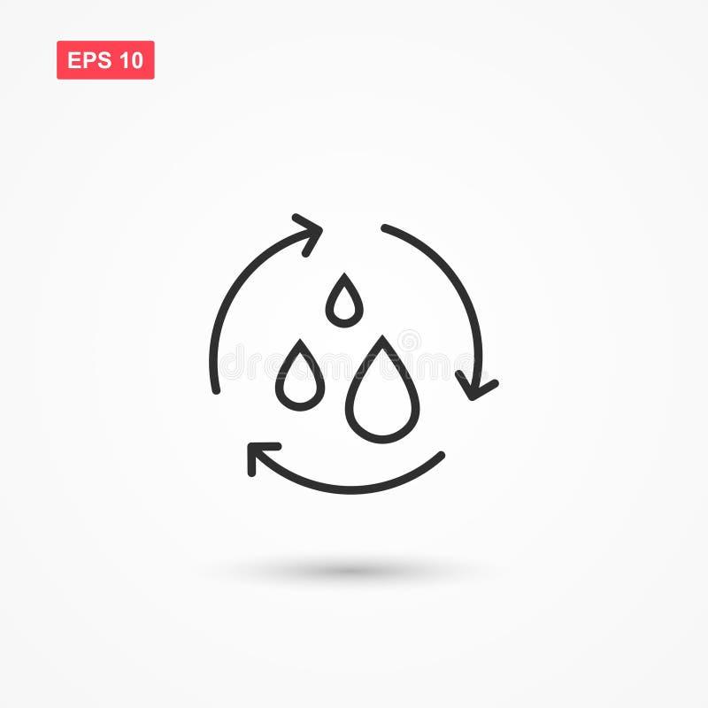Recicle o estilo do outine do ícone do vetor da água isolou 2 ilustração royalty free