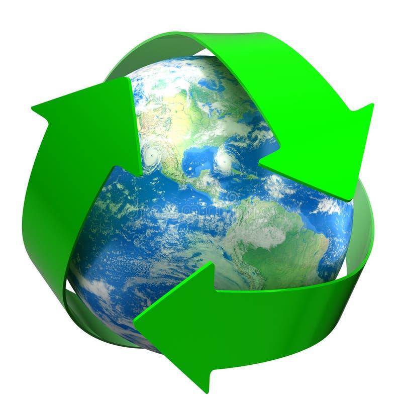 Recicle o globo (o trajeto de grampeamento incluído) ilustração do vetor