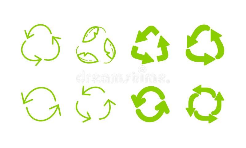 Recicle o grupo verde do ícone das setas do eco Recicl o s?mbolo ilustração stock