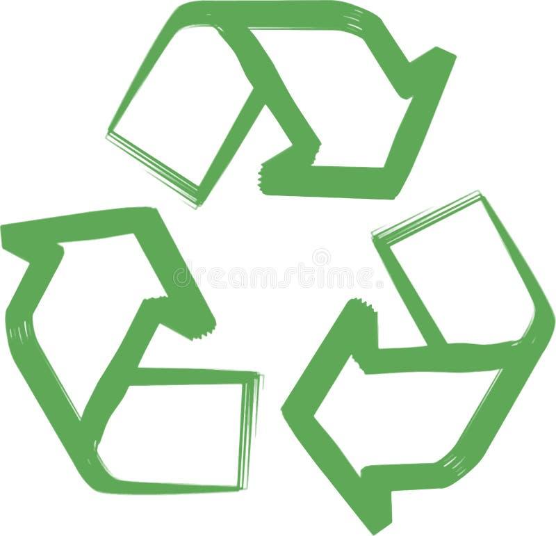 Recicle o símbolo ou o sinal do ícone do verde da conservação ilustração do vetor