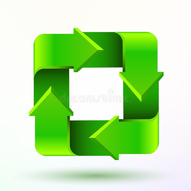 Recicle o símbolo ou o sinal do ícone do verde da conservação isolado no fundo branco ilustração royalty free