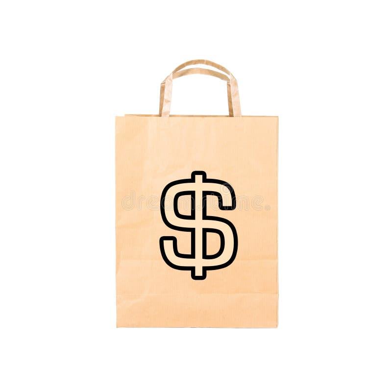 Recicle o saco de papel marrom com sinal $ fotografia de stock royalty free