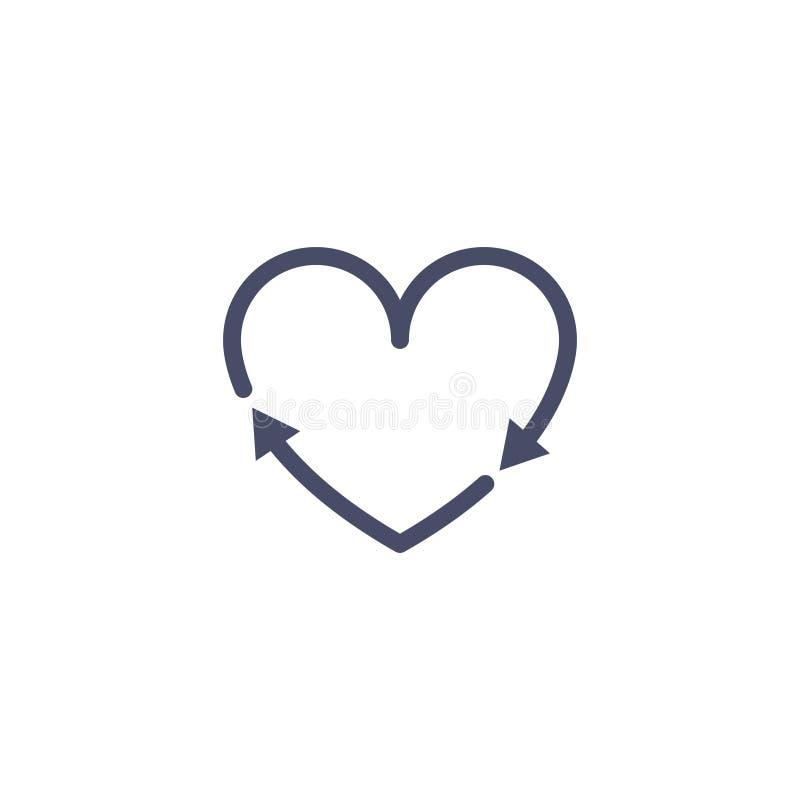 Recicle o sinal da seta do coração Recicle o vetor do ícone do amor Conceito ambiental do fundo da terra do ciclo da forma do cor ilustração stock