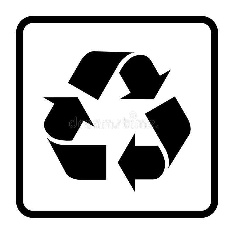 Recicle o sinal preto ilustração stock