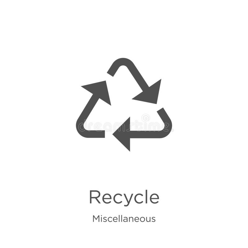 recicle o vetor do ícone da coleção variada A linha fina recicla a ilustração do vetor do ícone do esboço O esboço, linha fina re ilustração do vetor