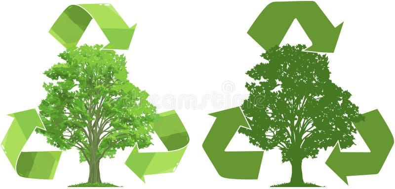 Recicle para los árboles stock de ilustración