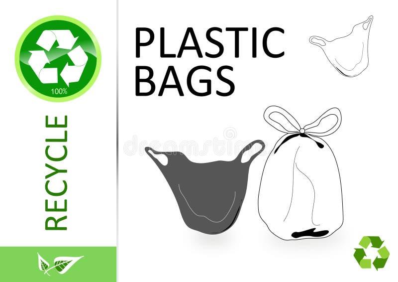 Recicle por favor las bolsas de plástico ilustración del vector