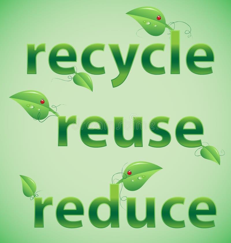 Recicle, reutilice, reduzca las palabras frondosas stock de ilustración