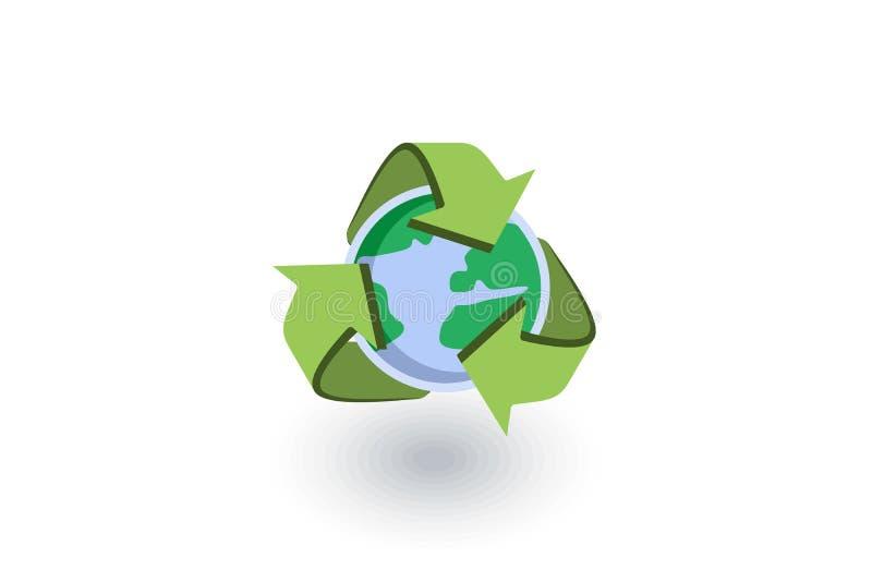 Recicle setas e o ícone liso isométrico da terra vetor 3d ilustração stock