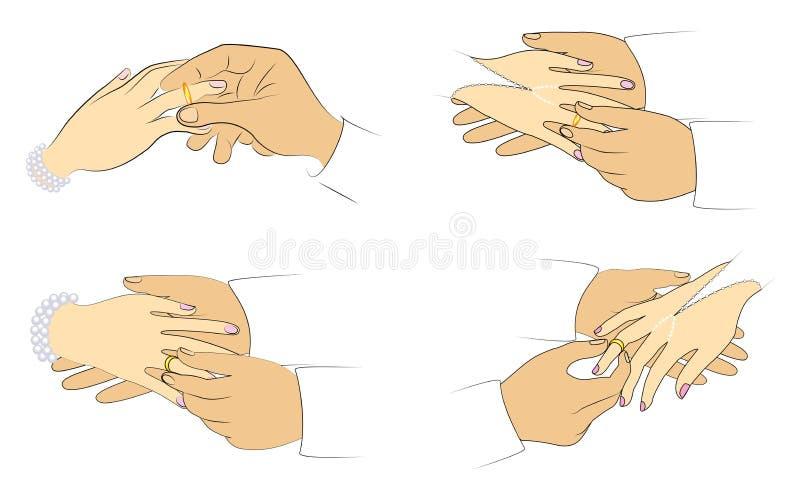 Recienes casados de Team Hands en la boda Un hombre pone un anillo de bodas de la muchacha s Conjunto de la ilustraci?n del vecto stock de ilustración