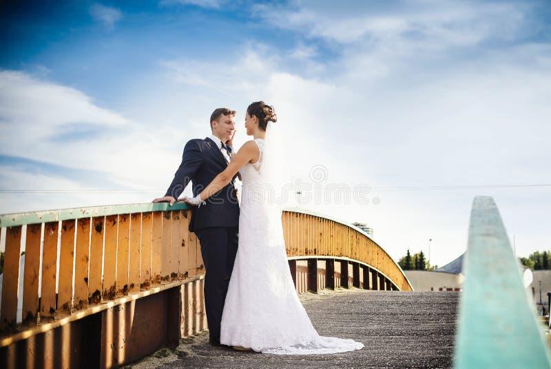 Recienes casados felices en el puente en parque fotografía de archivo