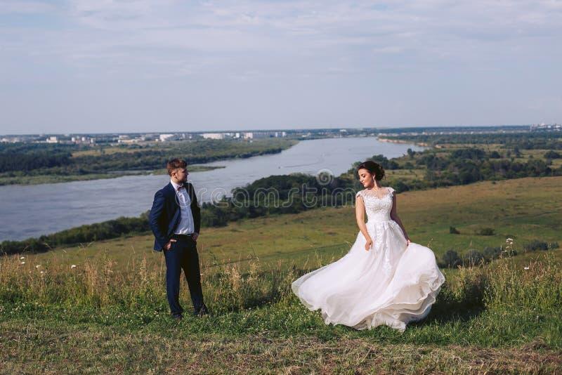 Recienes casados que presentan en naturaleza en su día de boda foto de archivo libre de regalías