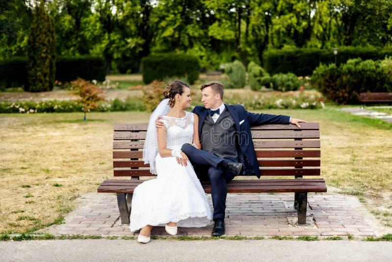 Recienes casados que se sientan en el banco en parque fotografía de archivo libre de regalías