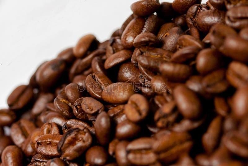 Recientemente molido habas del caf? asadas con las frutas de la planta del caf?, en el fondo blanco imagen de archivo