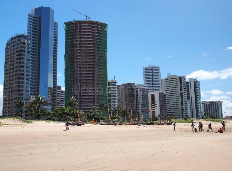 Recife. People on the beach in Recife, Brazil stock photo