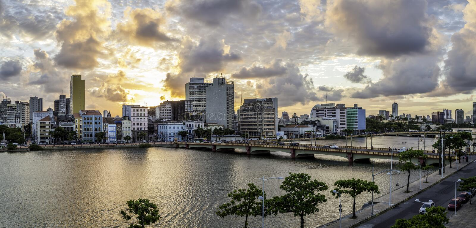 Recife. Aerial view of the historic architecture of Recife in Pernambuco, Brazil at sunset stock images