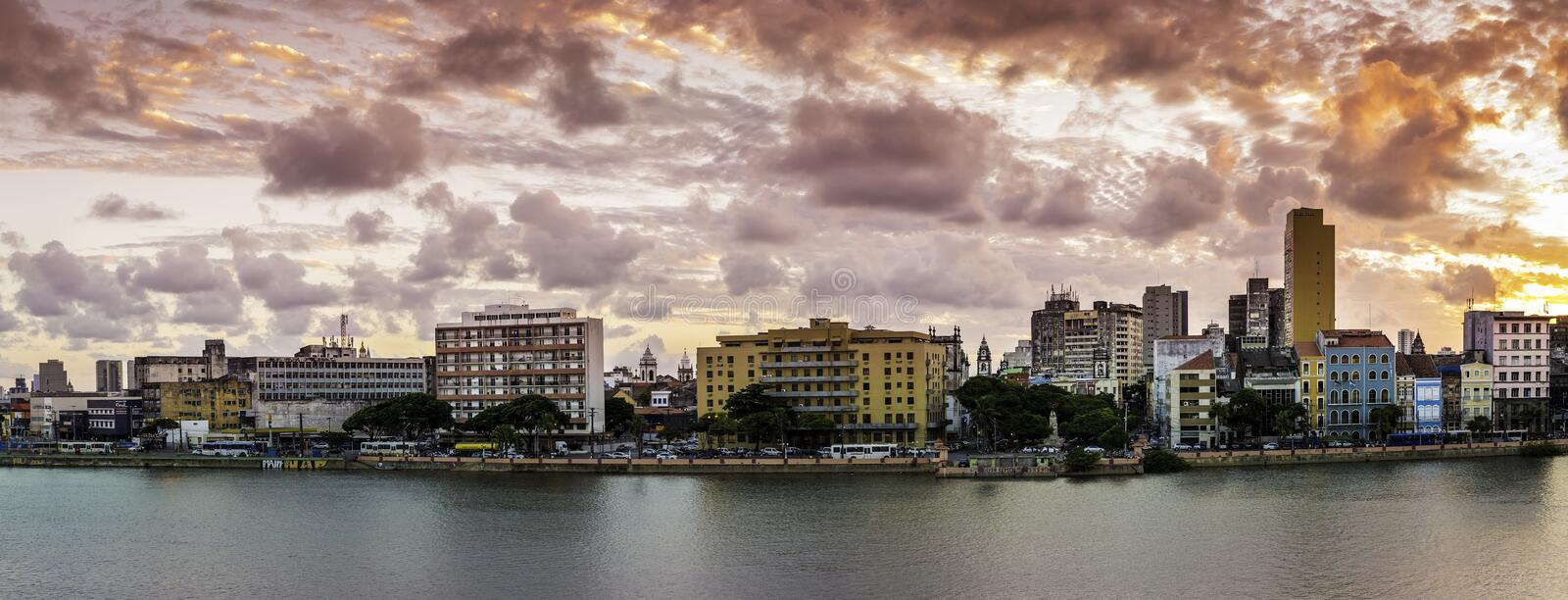 Recife. Aerial view of Recife in Pernambuco, Brazil at sunset stock images