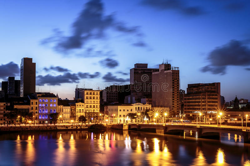 Recife. Aerial view of Recife in Pernambuco, Brazil at sunset stock photography