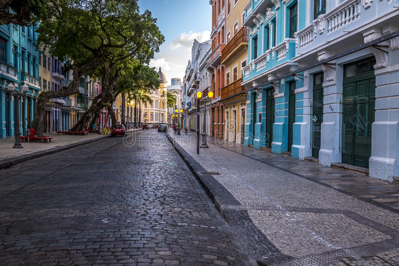 Recife. Bom Jesus Street in Recife, Pernambuco Brazil showing its historic building and architecture stock photography