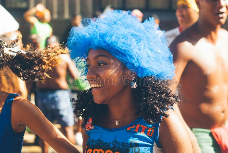 Carnival parade in recife,pernambuco, brazil. RECIFE,BRAZIL-FEB.21,2009: people gather in recife to celebrate the annual carnival, 'Galo da Madrugada' is a huge stock photography
