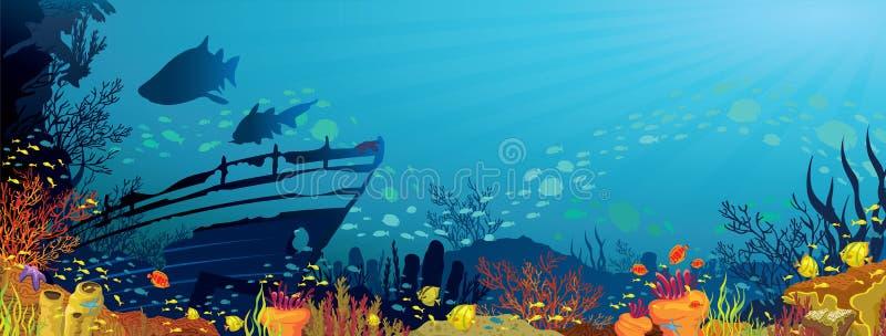 Recife coral com tubarões ilustração stock