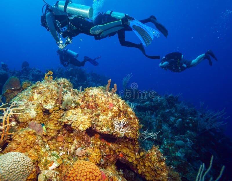 Recife de Colorfull e grupo de mergulhadores, Largo de Cayo, Cuba foto de stock