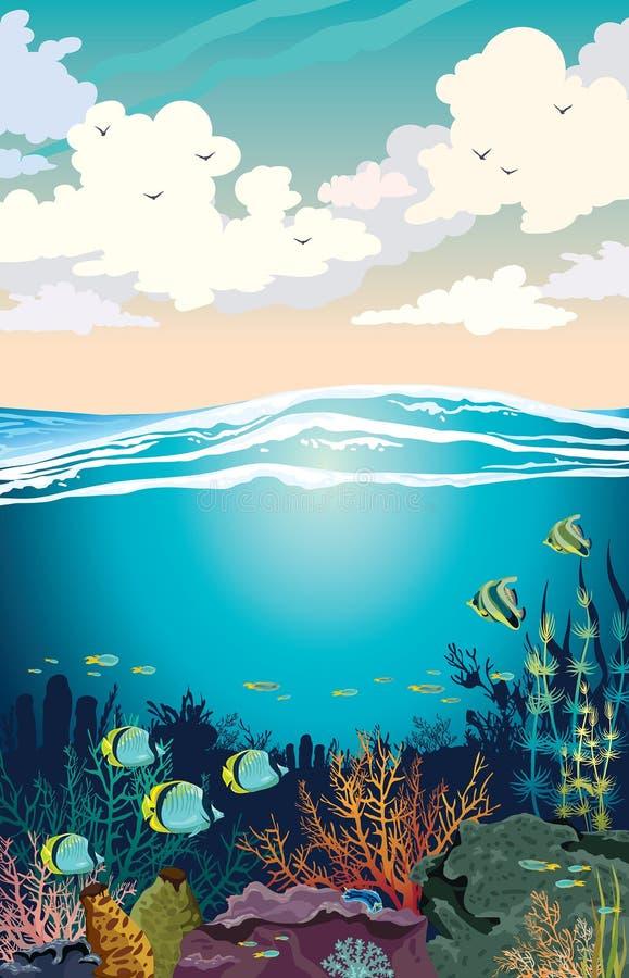 Recife de corais colorido com a escola dos peixes e do céu do por do sol com nuvens de cúmulo Ilustração do seascape do vetor Deb ilustração do vetor