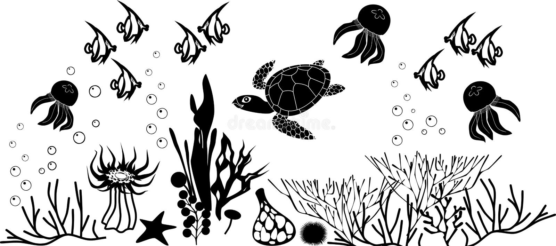 Recife de corais com tartaruga e outros animais marinhos ilustração royalty free